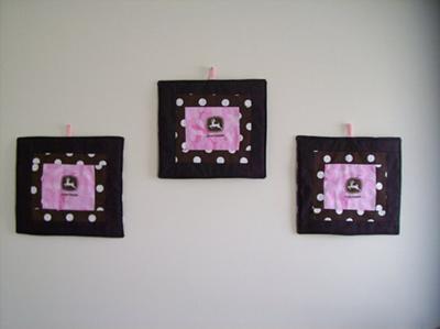 Custom made pink and brown John Deere DIY nursery wall hanging set