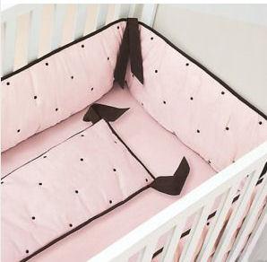 Elegant Pink and Brown Polka Dot Baby Bedding <br>Pink and Brown Baby Girl Nursery Theme Decor
