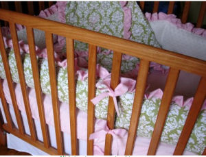 pink and green damask baby crib bedding set white minky fabric