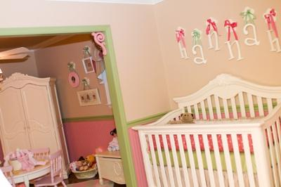 My Baby Girl's Pink and Green Nursery Decor with Polka Dots, Plaid and more