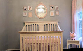 Baby girl nursery design ideas with Restoration Hardware paint color Light Grey and Petal Pink