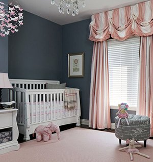 Pnk white and charcoal baby girl nursery room design
