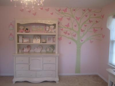 Sage green tree nursery wall decal with pink butterflies