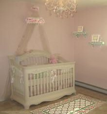 Pink and white princess theme nursery with vintage flowers and roses for a baby girl