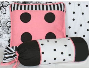French pink and black floral and polka dots baby girl crib bedding and nursery decorations