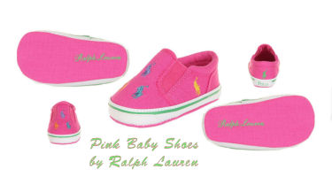 Pink and green designer baby shoes by Ralph Lauren