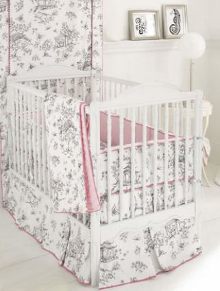 Black and white toile girl baby crib nursery bedding with a watermelon pink border