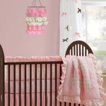 Pink and brown custom DIY baby girl nursery curtains panels