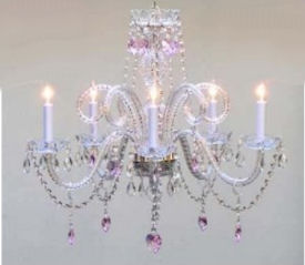 Pink crystal baby nursery chandelier with heart crystals and mini shades