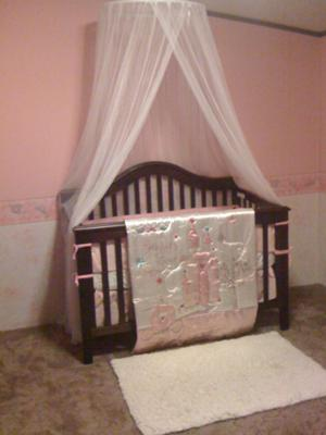 The white canopy over our little princess' baby crib