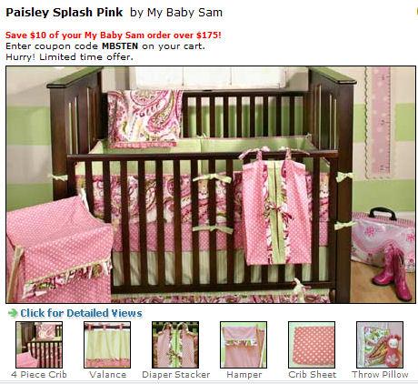 pink white and green baby girl bedding nursery crib set