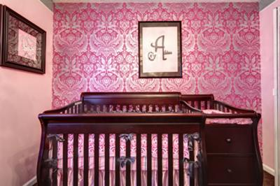 Are you dreaming of an elegant pink, damask nursery wall for your baby girl's princess nursery?
