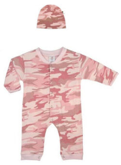 Pink Camouflage long sleeve cotton fleece baby sleeper and hat for a baby girl