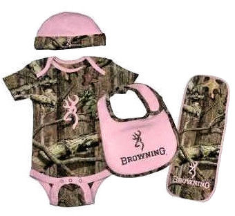 Pink and olive green Browning Mossy Oak pattern camo onesie beanie and burp cloth set for a baby girl