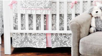 White pink and gray damask baby crib bedding set for a girl's princess nursery room