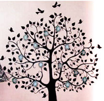 Hand painted DIY family tree baby nursery wall mural painting with picture frames and birds
