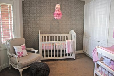 Piper's pink and grey nursery is a modern room with many traditional feminine touches perfect for a baby girl's room.