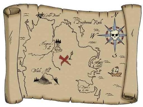 Vintage pirate treasure map wall art