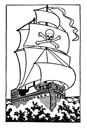 Tall sailing pirate ship clip art in black and white drawing artwork