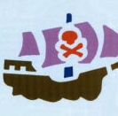 Pirate ship skull and crossbones baby nursery wall stencil pattern template