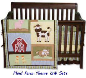Baby farm animal and puppy dog theme plaid baby nursery crib bedding set