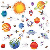 Planets baby nursery wall stickers and decals for a boys solar system theme room