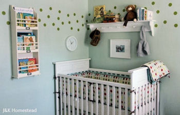 Vinyl polka dot wall decals used instead of wallpaper border in a baby boy nursery room