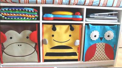 Monkey, bumble bee and owl theme baby nursery storage bins