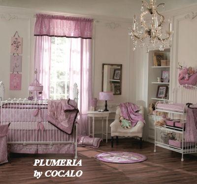 pink purple white plumeria baby bedding nursery crib set elegant