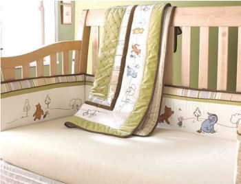 Classic sage green and antique white Winnie the Pooh baby nursery crib bedding set with embroidered and applique characters