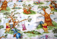 winnie the pooh toile bright color fabric quilting quilt quilters