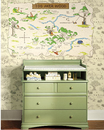 Winnie the Pooh 100 Acre Wood toile baby nursery wallpaper ideas