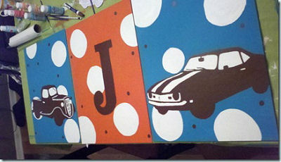 Custom muscle car canvas wall art for a baby boy nursery
