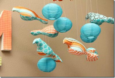 Aqua blue and orange baby bird mobile for a boy's nursery