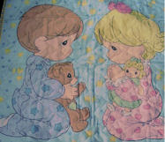 Precious Moments Baby Quilt with Boy and Girl Praying