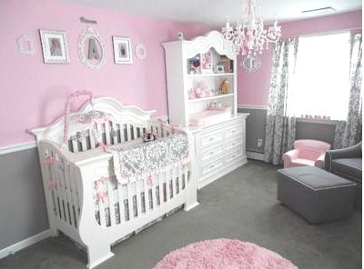Elegant pink white and gray princess theme nursery room for a baby girl