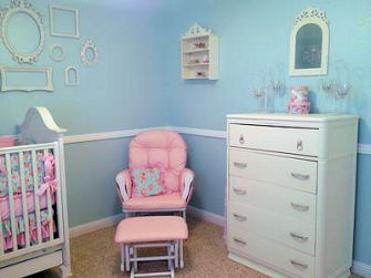 Shabby chic baby girl nursery design with DIY sewing and crafts projects