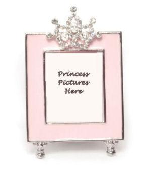 Rhinestones Jeweled Little Princess Tiara Pink Photo Frame