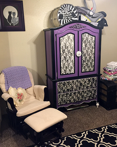 DIY purple and black baby nursery armoire reclaimed nursery furniture