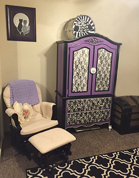 DIY purple nursery baby armoire painted in purple black and white