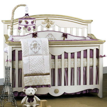 Purple lavender French Parisian angel theme baby girl nursery ideas crib bedding set