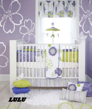 purple lavender lime green white baby nursery crib bedding sets flowers stripes