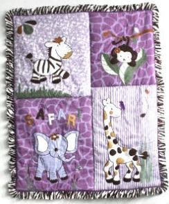 Lavender and purple zebra elephant jungle safari baby crib bedding set for a girl nursery room