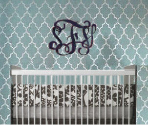Painted quatrefoil pattern wallpaper in blue and metallic silver paint created with a stencil