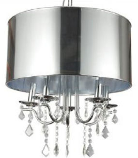 Hanging nursery ceiling chandelier light fixture with a metallic silver drum shade and crystals