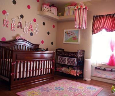 A baby girl's room bursting with dots & fun!