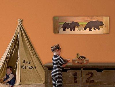 Rustic reclaimed wood nursery wall art bear forest creatures