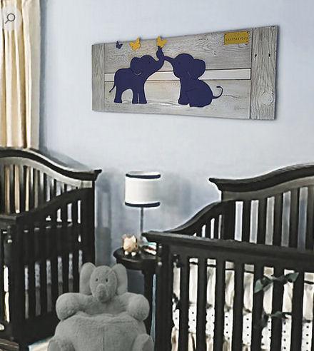 Reclaimed wood elephant baby nursery wall art for a baby boy or girl room