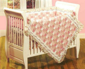 red gingham baby girl crib nursery bedding set quilt