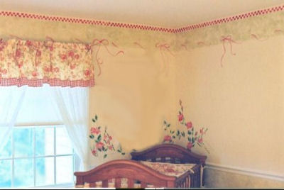 Baby Girl Red Gingham Nursery Decorating Ideas - Window Valance and Baby Crib Bedding